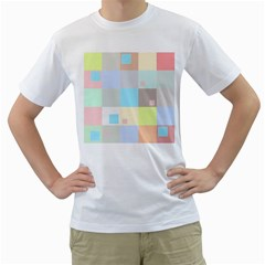 Pastel Diamonds Background Men s T Shirt (white) (two Sided)