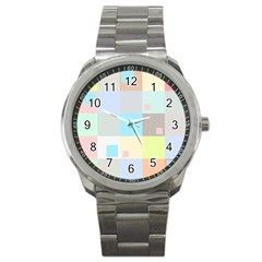 Pastel Diamonds Background Sport Metal Watch by Nexatart