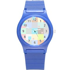 Pastel Diamonds Background Round Plastic Sport Watch (s) by Nexatart