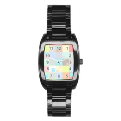 Pastel Diamonds Background Stainless Steel Barrel Watch