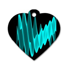 Wave Pattern Vector Design Dog Tag Heart (one Side) by Nexatart