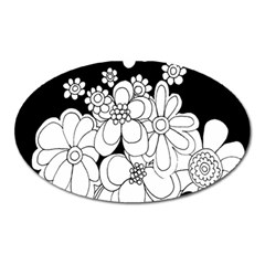 Mandala Calming Coloring Page Oval Magnet by Nexatart
