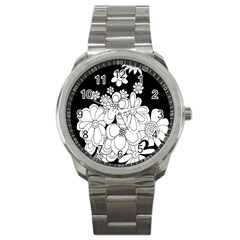 Mandala Calming Coloring Page Sport Metal Watch
