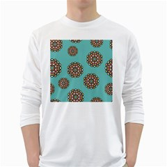 Circle Vector Background Abstract White Long Sleeve T Shirts