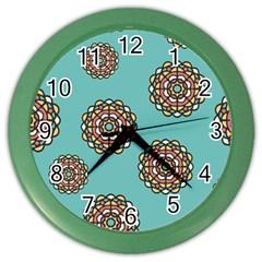 Circle Vector Background Abstract Color Wall Clocks by Nexatart