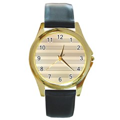 Notenblatt Paper Music Old Yellow Round Gold Metal Watch