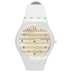 Notenblatt Paper Music Old Yellow Round Plastic Sport Watch (m) by Nexatart