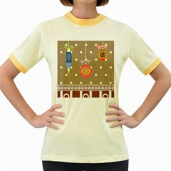 Art Background Background Vector Women s Fitted Ringer T Shirts