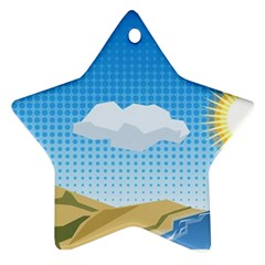 Grid Sky Course Texture Sun Ornament (star)