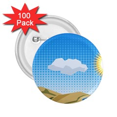 Grid Sky Course Texture Sun 2 25  Buttons (100 Pack)