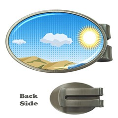 Grid Sky Course Texture Sun Money Clips (oval)