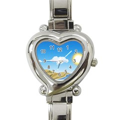 Grid Sky Course Texture Sun Heart Italian Charm Watch by Nexatart
