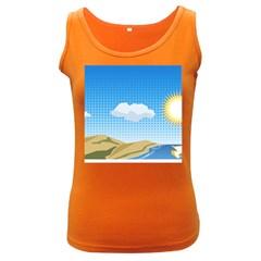 Grid Sky Course Texture Sun Women s Dark Tank Top by Nexatart
