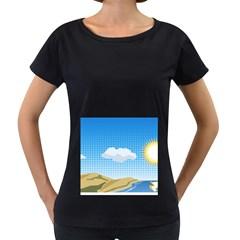 Grid Sky Course Texture Sun Women s Loose Fit T Shirt (black)