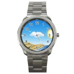 Grid Sky Course Texture Sun Sport Metal Watch