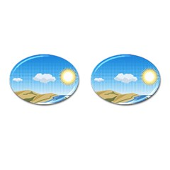 Grid Sky Course Texture Sun Cufflinks (oval) by Nexatart