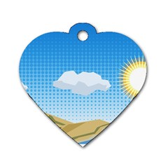 Grid Sky Course Texture Sun Dog Tag Heart (one Side)