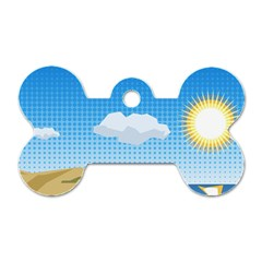 Grid Sky Course Texture Sun Dog Tag Bone (two Sides) by Nexatart
