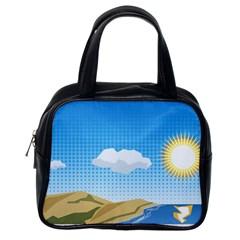 Grid Sky Course Texture Sun Classic Handbags (one Side)