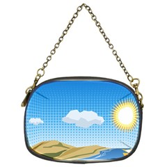Grid Sky Course Texture Sun Chain Purses (one Side)  by Nexatart
