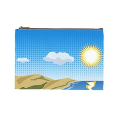 Grid Sky Course Texture Sun Cosmetic Bag (large)  by Nexatart