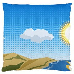 Grid Sky Course Texture Sun Large Cushion Case (two Sides) by Nexatart
