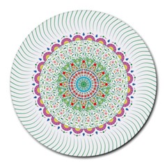 Flower Abstract Floral Round Mousepads by Nexatart