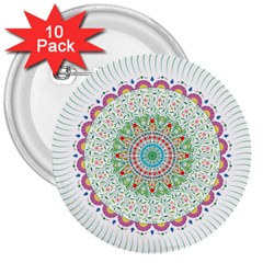 Flower Abstract Floral 3  Buttons (10 Pack)
