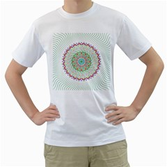Flower Abstract Floral Men s T Shirt (white) (two Sided)