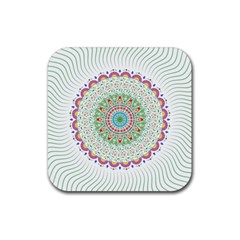Flower Abstract Floral Rubber Square Coaster (4 Pack)  by Nexatart