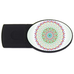 Flower Abstract Floral Usb Flash Drive Oval (2 Gb)