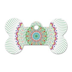 Flower Abstract Floral Dog Tag Bone (one Side) by Nexatart