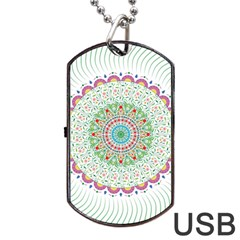 Flower Abstract Floral Dog Tag Usb Flash (one Side)