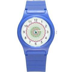 Flower Abstract Floral Round Plastic Sport Watch (s) by Nexatart