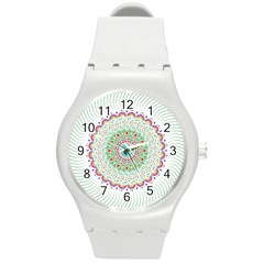 Flower Abstract Floral Round Plastic Sport Watch (m) by Nexatart