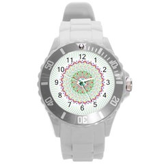 Flower Abstract Floral Round Plastic Sport Watch (L)