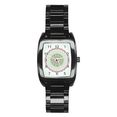 Flower Abstract Floral Stainless Steel Barrel Watch by Nexatart