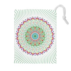 Flower Abstract Floral Drawstring Pouches (extra Large) by Nexatart