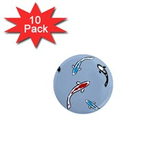 Koi Carp East Vector Seamless 1  Mini Magnet (10 Pack)