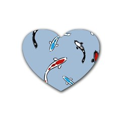 Koi Carp East Vector Seamless Rubber Coaster (heart)