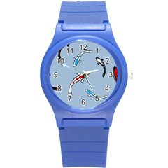 Koi Carp East Vector Seamless Round Plastic Sport Watch (s) by Nexatart