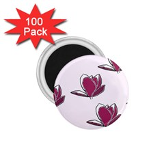Magnolia Seamless Pattern Flower 1 75  Magnets (100 Pack)