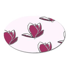 Magnolia Seamless Pattern Flower Oval Magnet by Nexatart
