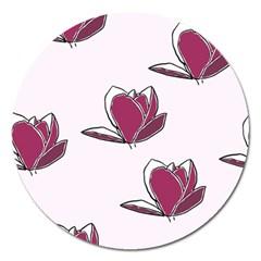 Magnolia Seamless Pattern Flower Magnet 5  (round)
