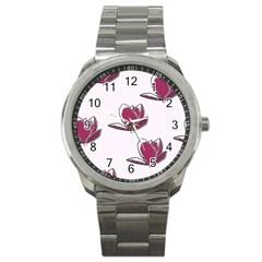 Magnolia Seamless Pattern Flower Sport Metal Watch