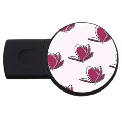 Magnolia Seamless Pattern Flower Usb Flash Drive Round (4 Gb) by Nexatart