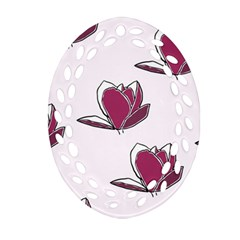 Magnolia Seamless Pattern Flower Ornament (oval Filigree) by Nexatart