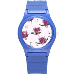 Magnolia Seamless Pattern Flower Round Plastic Sport Watch (s) by Nexatart