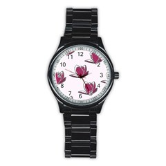 Magnolia Seamless Pattern Flower Stainless Steel Round Watch by Nexatart