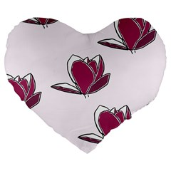Magnolia Seamless Pattern Flower Large 19  Premium Flano Heart Shape Cushions by Nexatart